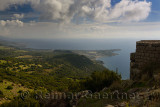 View east on the Aegean Sea coast from Assos Behramkale Turkey cliff top ruins