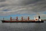 Monrovia bulk carrier ship in the Dardanelles passing Gallipoli Turkey heading for the Aegean Sea