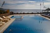 Resort hotel pool over the Aegean Sea at Assos Iskele Behram Turkey