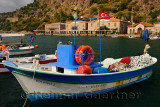 Fishing boats and hotels in the picturesque hamlet of Assos Iskele Turkey
