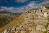 Foundations of the hilltop acropolis of Trajan Temple at ruins of Pergamon Bergama Turkey