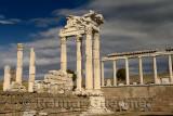 White marble corinthian colum ruins of Trajan Temple at Pergamon archeological site Bergama Turkey