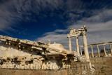 Carved marble pediment among ruins of Temple of Trajan at Pergamon Bergama Turkey