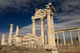 Restoration of Trajan Temple white marble corinthian colums at Pergamon archeological site Bergama Turkey