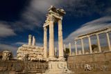 Partially restored white marble corinthian colums at Trajan Temple at Pergamon archeological site Bergama Turkey