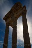 Silhouette of corinthian columns and lintel ruins of Trajan Temple at Pergamon Bergama Turkey