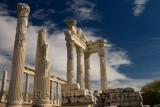White marble corinthian colums of Trajan Temple at Pergamon archeological site Bergama Turkey