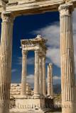 Frame of white marble corinthian colums at Trajan Temple at Pergamon archeological site Bergama Turkey