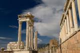 Restored corinthian colums at ancient Pergamon archeological site at Bergama Turkey