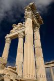 View up to the massive corinthian colums at ancient Pergamon at Bergama Turkey