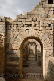 Stone block arches of the foundations of the Temple of Trajan at Pergamon Bergama Turkey