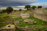 Sanctuary walls and wells of Troy VI at archeological site near Hisarlik Turkey