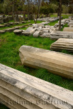 Collection of blocks and columns excavated from archeological site at ancient Troy Hisarlik Turkey