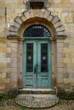 Mosque doorway with star and crescent moon symbols in hillside village of Yesilyurt Malatya Turkey