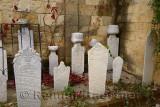 Muslim gravestones next to a Mosque in hillside village of Yesilyurt Malatya Turkey