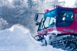 The Groomer Truck working for the  Snow Park .Pisten Bully