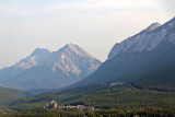Banff, seen from Mount Norquay, with Mount Rundle behind, Sulphur Mountain to the right