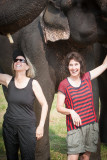 Susan and Kathy with the elephants