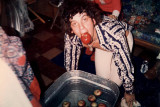 Jim wins at apple bobbing.