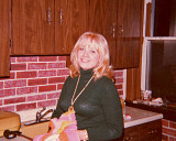 Sharon in the kitchen of our old house.