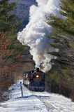 The 7470 steam engine in the whitw mountains of NH.