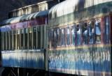 Old railroad cars North Conway NH.