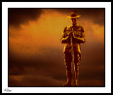 It was the day when all Australia and New Zealand get up at dawn to honour our war heros.  Then a shared breakfast and a day of marches in the main cities. Each year this is growing with more and more children becoming involved.  This is my  shot of the new Zealand Soldier on the ANZAC bridge. I mustn't forget to mention Two Up a gambling game only legal on ANZAC day.
