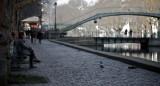 Waiting along the canal Saint-Martin