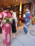 Women dressed traditionally to visit a temple