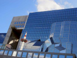 Kyoto Station, reflections from across the road in late afternoon