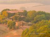Stone Farmhouse in soft evening mist