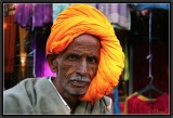 The Saffron Turban. Pushkar Bazaar.
