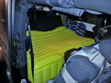 Inflatable car bed on backseat in a 2 door Jeep Wrangler Sahara