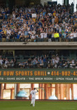 Ryan Braun greeted by fans in the bleachers
