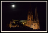 Floodlit Cathedral with Moonlight