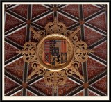 16c Coffer-Ceiling bears the Arms of Five Queens