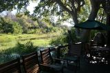 The camp is situated on an island in the Okavango Delta