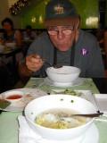 Enjoying a great lunch in a noodle restaurant...slurp.