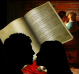 A woman and a man reading the final tercets of a certain canto.