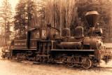 Shay Steam engine pulling logs