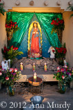 Guadalupe altar with candles