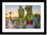Masked Couple at Sunset