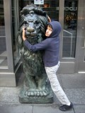 Can't pass a lion without hugging it.