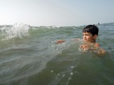 Increasingly comfortable in the surf