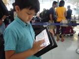 Waiting in line at the Bangkok airport