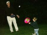 Rick playing egg koosh with grandson.  (c. 2000)