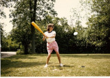 Mary good naturedly playing eggball.  (c. 1980)