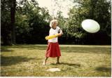 Granny playing eggball.  (c. 1985)