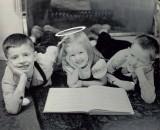 Bill and Rick, egged, and Mary, halo-ed.  (c. 19456)