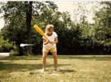 Aunt Karen playing eggball.
